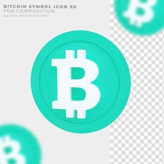 Ícone de símbolo de bitcoin de renderização 3d