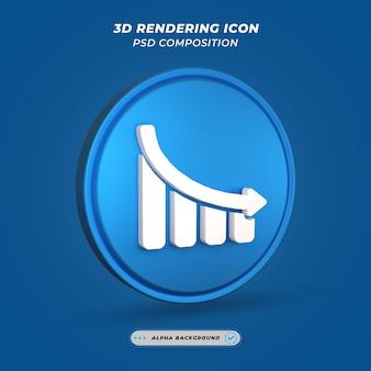 Ícone de símbolo de gráfico de estatísticas em renderização 3d