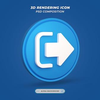 Ícone de sinal de logout na renderização 3d