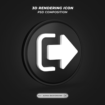 Ícone de sinal de logout preto e branco na renderização 3d
