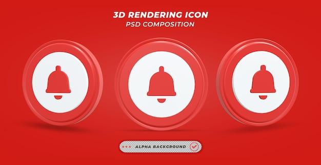 Ícone de sino em renderização 3d