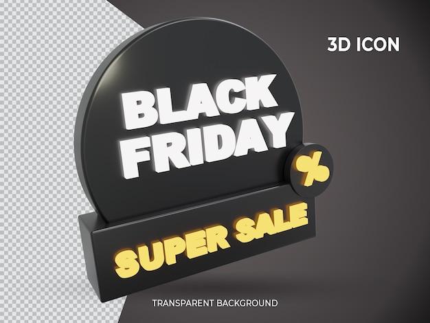 Ícone de super venda 3d transparente renderizado na sexta-feira negra