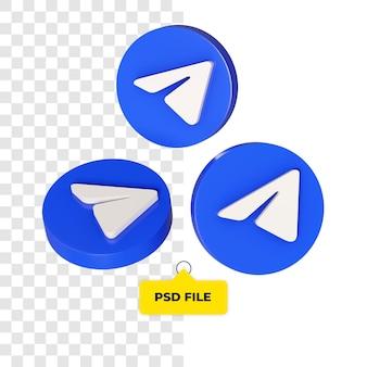Ícone de telegrama 3d em todos os lados