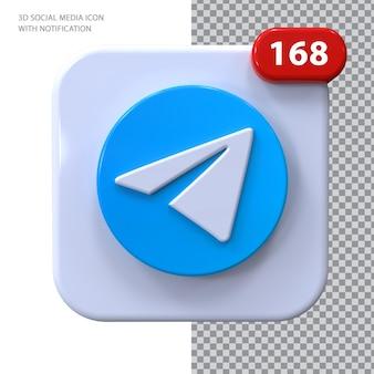 Ícone de telegrama com conceito 3d de notificação