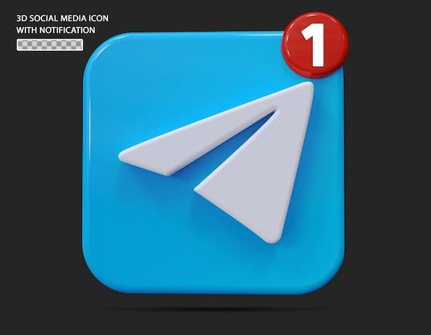 Ícone de telegrama com estilo 3d de notificação