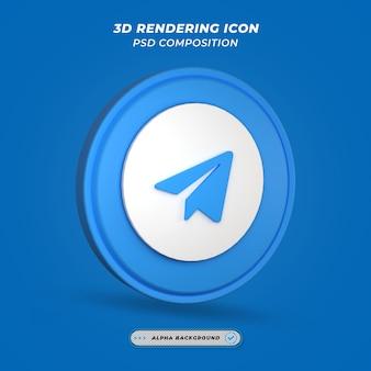 Ícone de telegrama de mídia social em renderização 3d