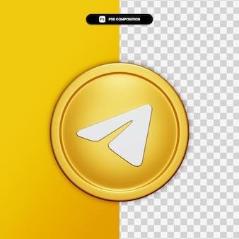 Ícone de telegrama de renderização 3d no círculo dourado isolado