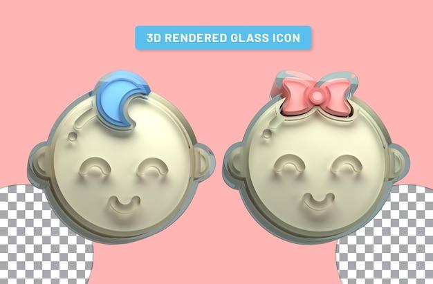 Ícone de vidro transparente renderizado 3d de menino e menina