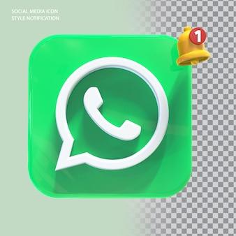 Ícone de whatsapp de mídia social com notificação de campainha 3d