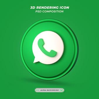 Ícone de whatsapp de mídia social em renderização 3d