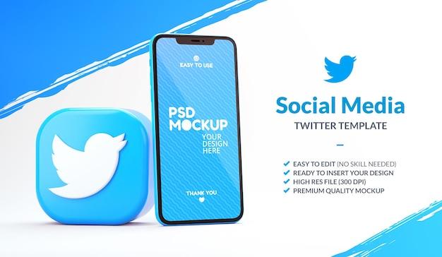 Ícone do aplicativo do twitter com uma maquete de telefone para um modelo de marketing em renderização 3d