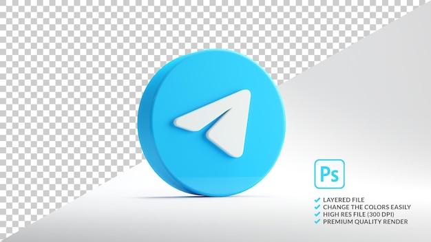Ícone do aplicativo telegram isolado na renderização 3d