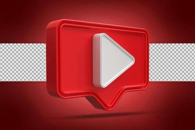 Ícone do botão de reprodução em renderização 3d