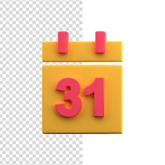 Ícone do calendário do organizador 3d com 31 dias do mês. ícone do calendário 3d.