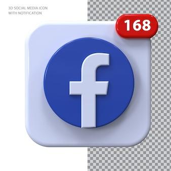 Ícone do facebook com conceito 3d de notificação