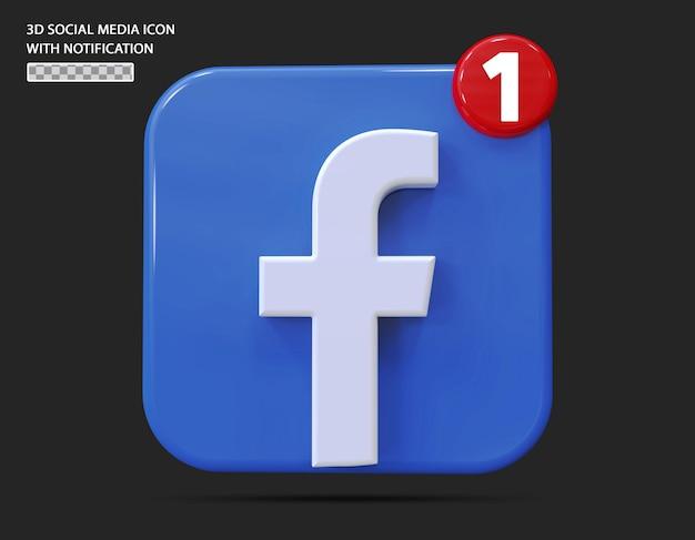 Ícone do facebook com estilo 3d de notificação