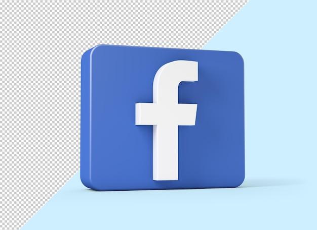 Ícone do facebook isolado em renderização 3d