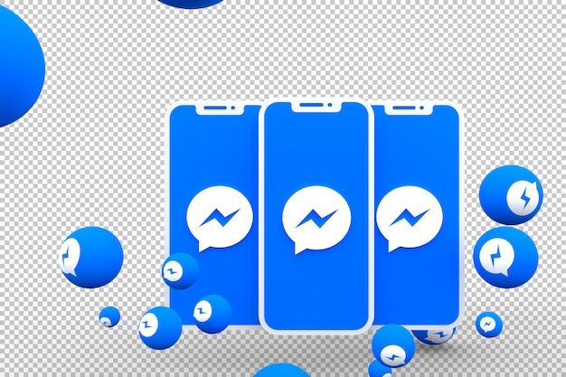 Ícone do facebook messenger na tela do smartphone ou celular e as reações do facebook messenger adoram renderização em 3d