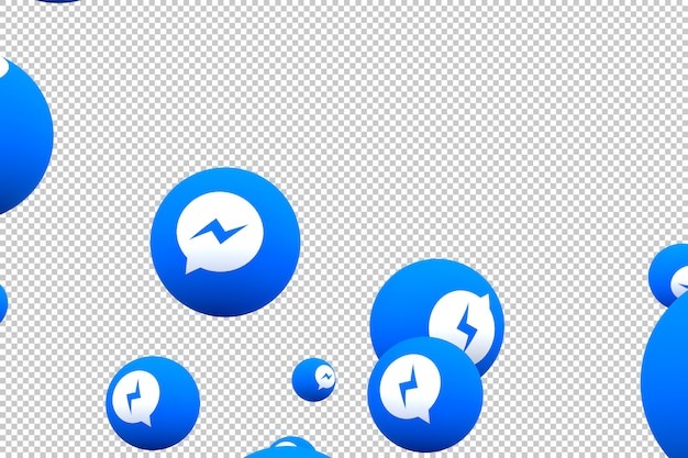 Ícone do facebook messenger na tela smartphone ou celular e reações do facebook messenger amam renderização em 3d