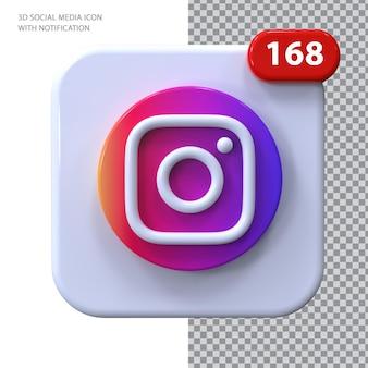 Ícone do instagram com conceito de notificação 3d