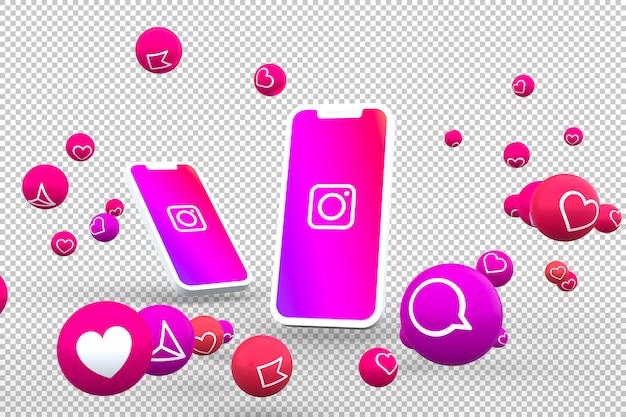 Ícone do instagram em telas de smartphones com emojis
