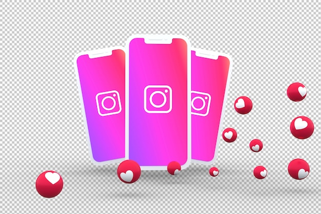 Ícone do instagram na tela de smartphones e reações do instagram