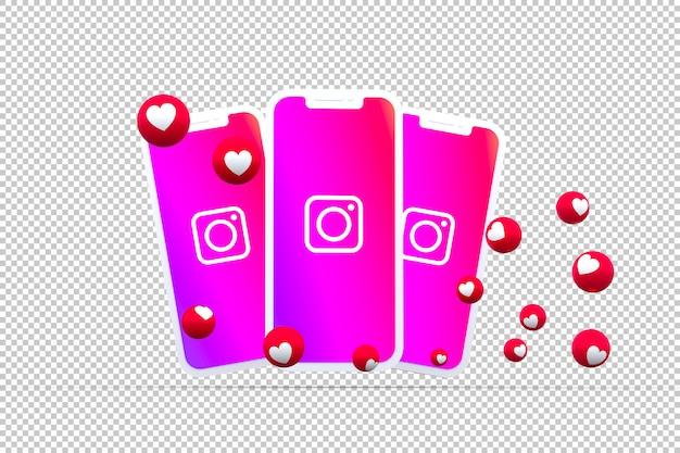 Ícone do instagram na tela do smartphone ou reações móveis e instagram adoram renderização 3d