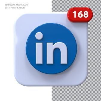Ícone do linkedin com conceito 3d de notificação