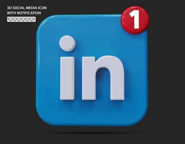 Ícone do linkedin com estilo 3d de notificação