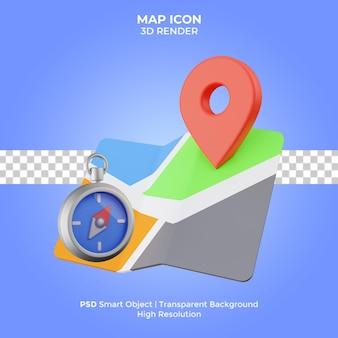 Ícone do mapa 3d render isolado premium psd
