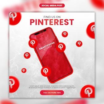 Ícone do pinterest 3d render e maquete de smartphone de mídia social e modelo de postagem do instagram