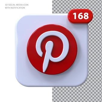 Ícone do pinterest com conceito 3d de notificação