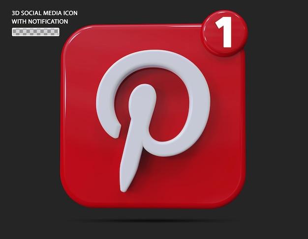 Ícone do pinterest com estilo 3d de notificação
