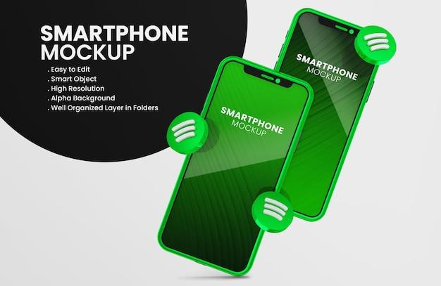 Ícone do spotify 3d render na maquete de smartphone verde