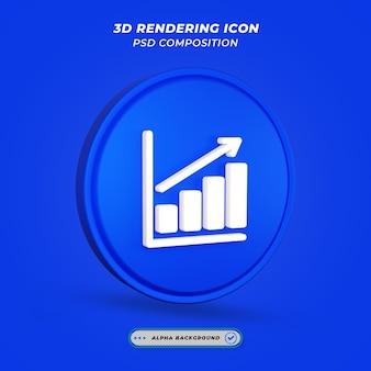 Ícone do tema de estatísticas de negócios em renderização 3d