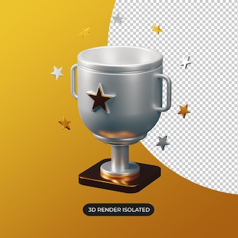 Ícone do troféu de prata 3d isolado