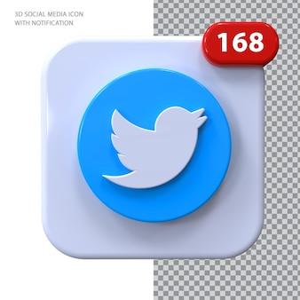 Ícone do twitter com conceito 3d de notificação