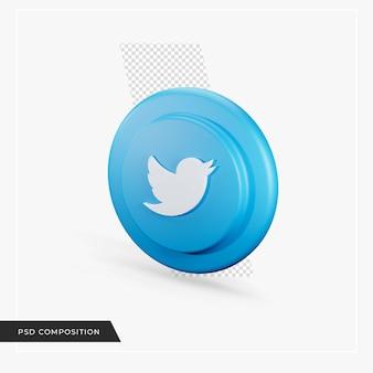 Ícone do twitter em renderização 3d