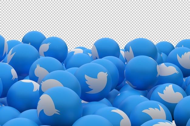 Ícone do twitter nas esferas azuis