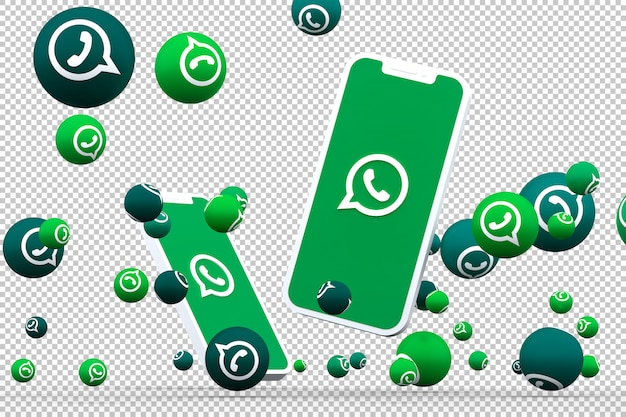 Ícone do whatsapp na tela do smartphone ou celular e chamadas de reações do whatsapp