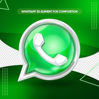 Ícone do whatsapp vista frontal 3d para composição