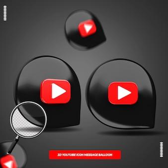 Ícone do youtube 3d em balão de mensagem isolado para composição