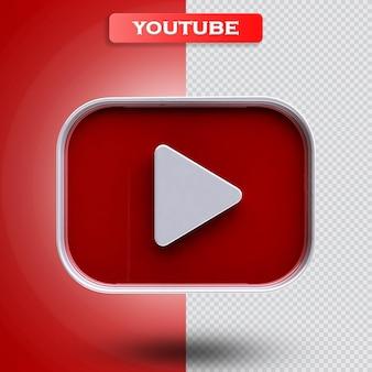 Ícone do youtube 3d render moderno