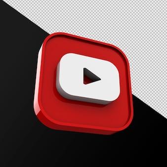 Ícone do youtube, aplicativo de mídia social. renderização 3d foto premium