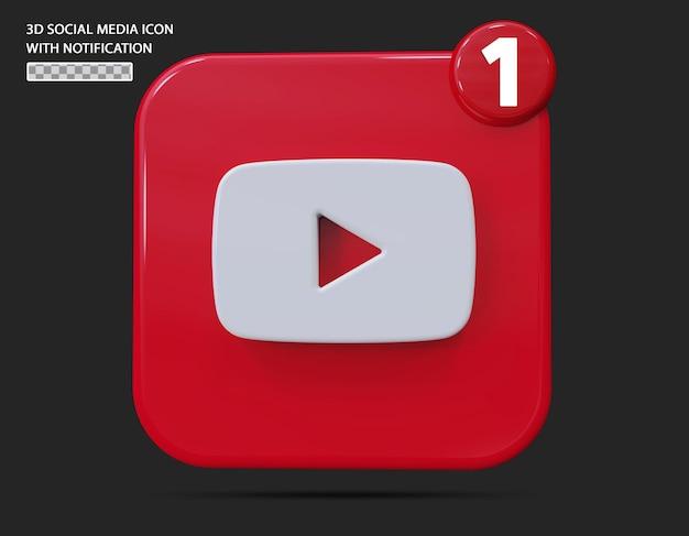 Ícone do youtube com estilo 3d de notificação