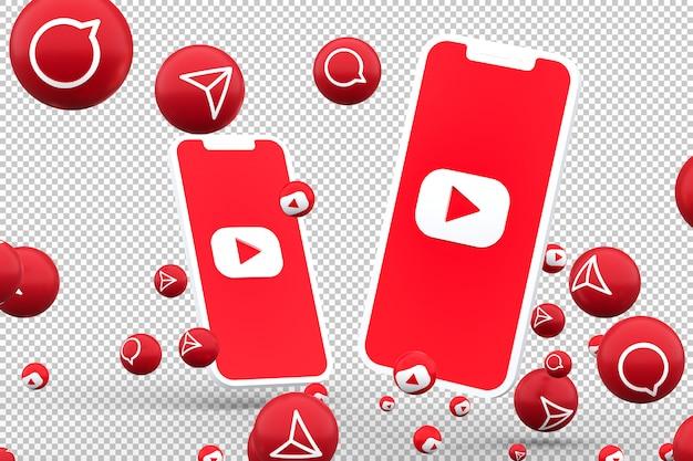 Ícone do youtube em smartphones com tela e reações no youtube