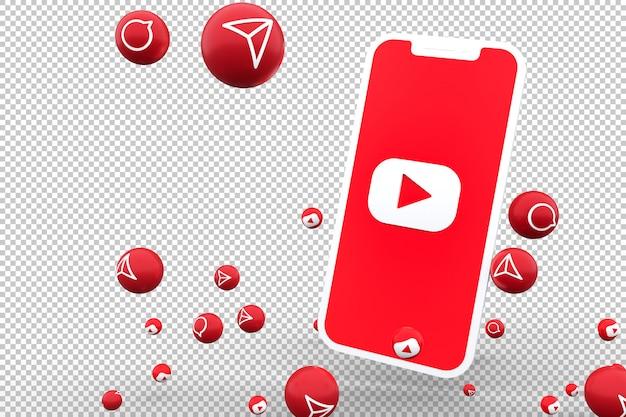 Ícone do youtube na tela do smartphone e as reações do youtube adoram renderização emoji 3d