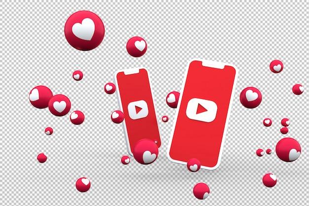 Ícone do youtube na tela smartphone e reações do youtube amam emoji renderização em 3d em fundo transparente