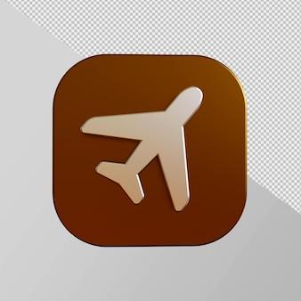 Ícone dourado close-up em um avião em renderização 3d isolado