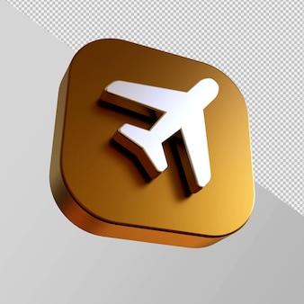 Ícone dourado close-up em um avião em renderização 3d isolado Psd Premium